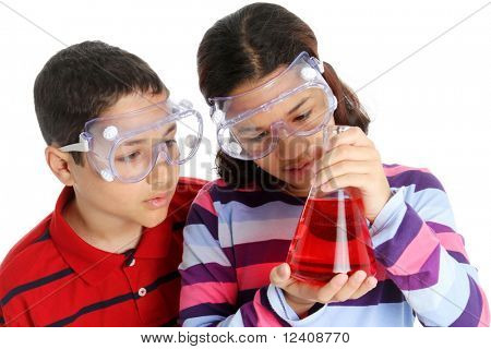 Picture of children on computer set on white background