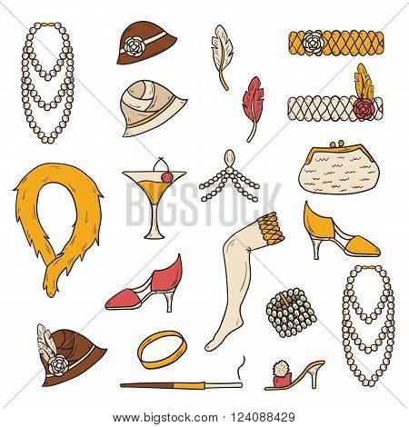 Set of retro fashion 1920s 1930s objects with hand drawn women hats clothes jewelry. Chicag party style. Old-fashioned retro-styled design