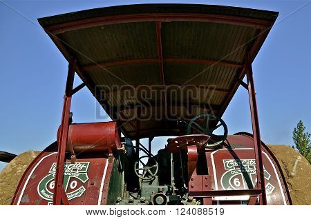 ROLLAG, MINNESOTA, Sept 2, 2014: Twin City tractors were built by the Minneapolis Steel & Machinery Company until 1929 when it merged with the Moline Implement Company of Illinois and the Minneapolis Threshing Machine Company of Hopkins, Minnesota.