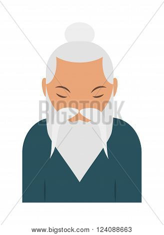 Sage elder old chinese man and asian sage elder portrait. Sage elder wisdom chinese man, grandparent middle relaxed chinese man traditional male. Sage elder yoga pranayama old Hindu man vector.