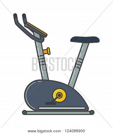 Stationary training exercise bike healthy lifestyle equipment and exercise bike sport. Exercise bike training workout machine. Stationary exercise bike sport gym machine health activity vector.