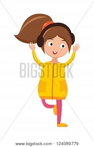 Dancing girl, fun music and modern little dancing girl jump music. Style women sensuality performer moving. Girl dancing with headphones young beautiful woman bright outfit enjoying music home vector.