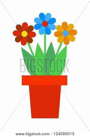 Flat flower pot and flower pot with colorful flowers. Nature flower pot and spring decoration flower pot. Flower Pot garden bloom season flat vector. Spring colorful garden flowers in pot vector.