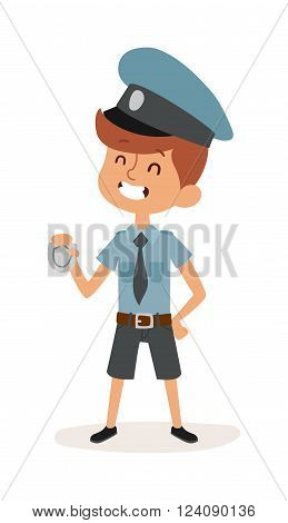 Cute cartoon profession police boy and police funny cartoon kid. Boy police man in police uniform, cap and badge hands cop occupation security job. Cute cartoon character of policeman boy vector.
