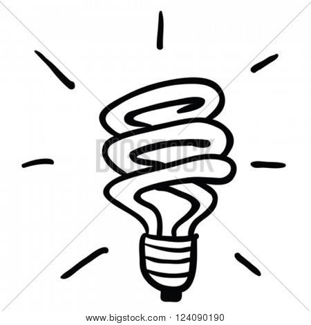 black and white energy saving light cartoon