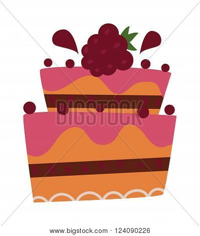 Pie isolated with fruits and chocolate pie isolated. Wedding cake sweet dessert homemade pie. Chocolate cream brownie cake topped pie isolated with white slice and cream flowers decorated vector.