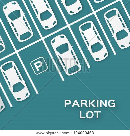 Top View Parking lot design - - cut from paper concept. Many cars parked. Vector illustration - eps10 poster