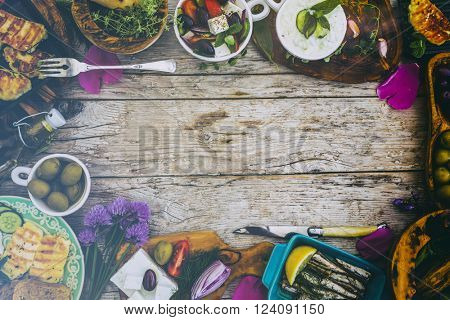 Greek cuisine dishes - frame with copy space (filtered)