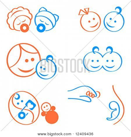 Design elements for babies, pregnancy, maternity logos or icons