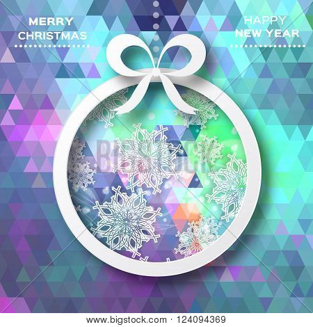 Merry Christmas and Happy New Year. View of white christmas ball and bow on polygonal background. Paper cut style.