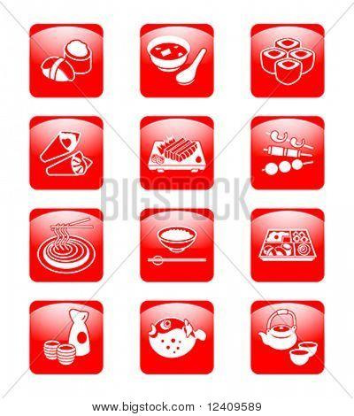 Traditional j-food: sushi, miso-siru, rolls, temaki (hand rolls), sashimi, yakitori (grilled), soba (noodle), gohan (rice), o-bento (lunch box), sake, fugu (blowfish) and green tea set.