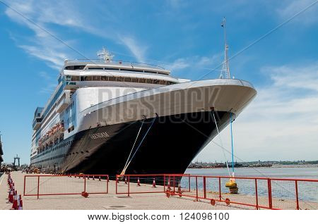 Montevideo, Uruguay - December 15, 2012: The Holland America Line cruise ship Veendam moored at Montevideo port - Uruguay South America - Rio de la Plata.
