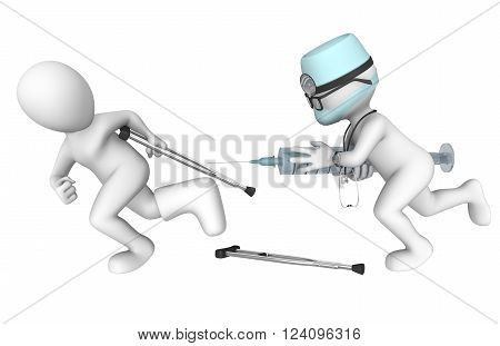 3d doctor and patient. Awful injection. Medical horror. 3d rendered illustration.