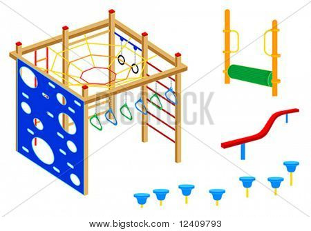 Playground equipment, 4 (Fitness): Pad walks, Log roll, Curved balance beam, Climbing wall, Rings, Climbing net, Bridge, Bars