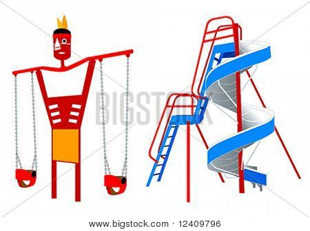 Playground equipment, 5 (Classic American): 2-seat Swing with Indian character and patriotic Slide