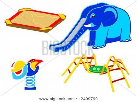 Playground equipment, 2: Sand-box, Elephant Slide, Spring Toy, Climbing Spider