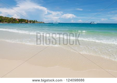 Samet island Thailand. Koh Samet is a rather small island where you will find some of the most beautiful beaches in Thailand. The Wong Duan bay beach of Koh Samet.