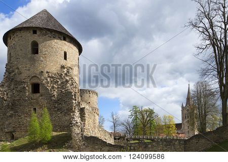Cloudy spring day in the medieval castle of Cesis. Latvia