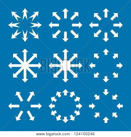 Maximize Arrows vector icon set. Collection style is white flat symbols on a blue background. Maximize Arrows icons.