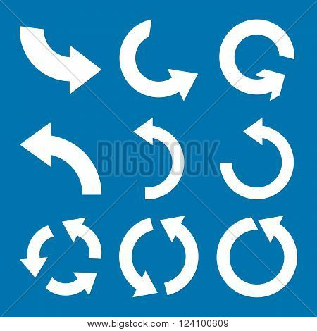 Rotate Counterclockwise vector icon set. Collection style is white flat symbols on a blue background. Rotate Counterclockwise icons.
