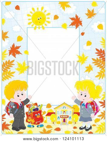 Vertical vector frame border with a schoolgirl, a schoolboy, a character Schoolbag and a school among yellow autumn leaves