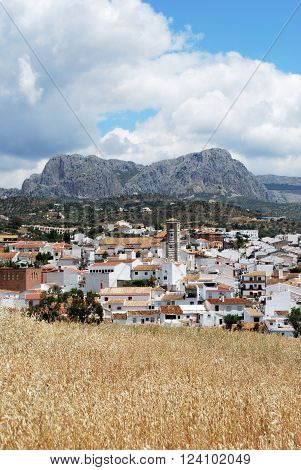View across the town rooftops towards the mountains Rio Gordo Malaga Province Andalusia Spain Western Europe.