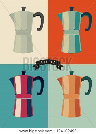 Coffee vintage pop-art style poster with classic moka pot coffee makers. Retro vector illustration.