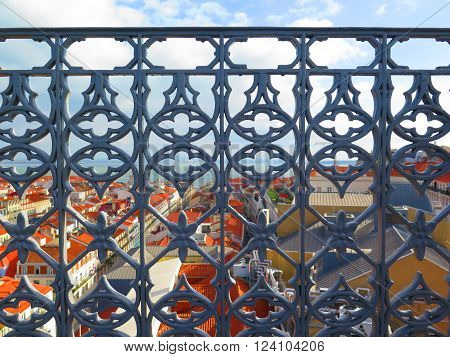 Ornate Iron Work balcony railing on Santa Justa Elevator Platform Lisbon Portugal