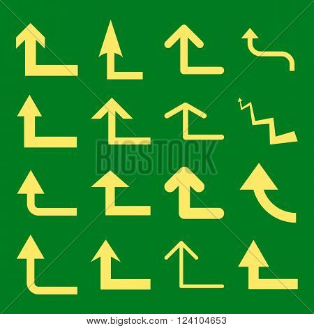 Turn Forward vector icon set. Collection style is yellow flat symbols on a green background. Turn Forward icons.