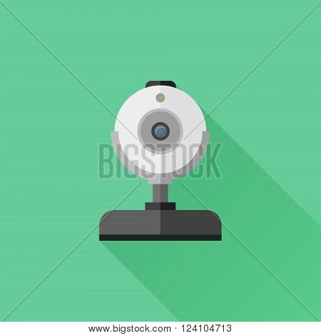 Web cam flat icon with long shadow on green background