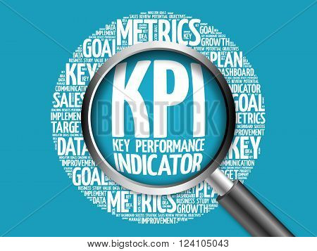 KPI - Key Performance Indicator word cloud with magnifying glass business concept
