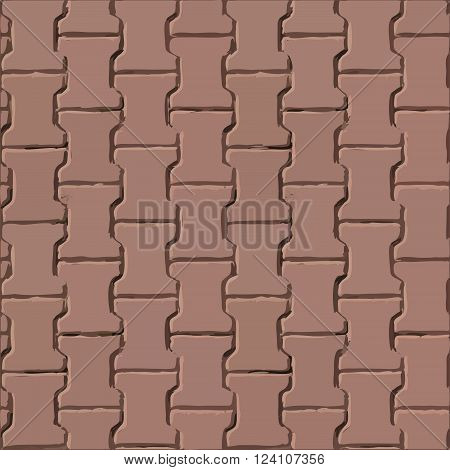 Pavement red slabs vector texture or background