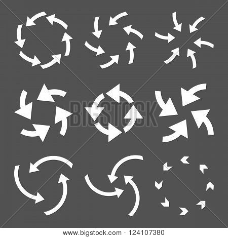 Cyclone Arrows vector icon set. Collection style is white flat symbols on a gray background. Cyclone Arrows icons.
