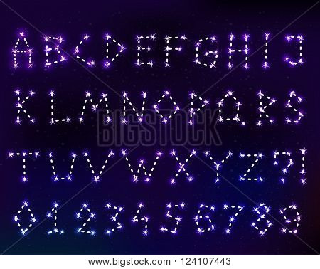 Vector constellation font in space. Set of letters. Stock illustration of alphabet for design