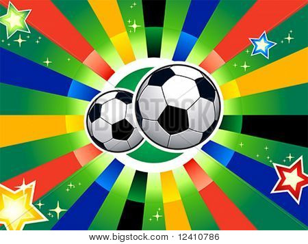 Soccer balls over abstract background