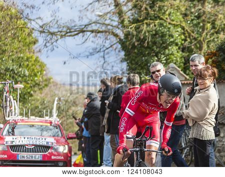 Conflans-Sainte-Honorine,France-March 62016: The French cyclist Arnold Jeannesson of Cofidis Team riding during the prologue stage of Paris-Nice 2016.