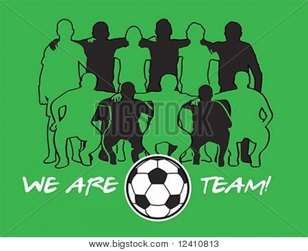 Soccer team player silhouettes with ball over green field