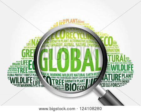 Global Word Cloud With Magnifying Glass