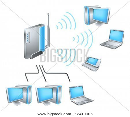 Wi-Fi network diagram with glossy hi-tech devices
