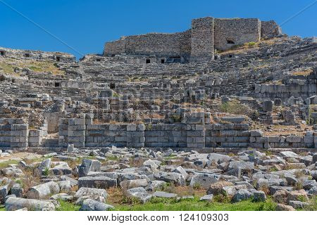 Theater ruins of ancient Miletus Aydin Province Turkey