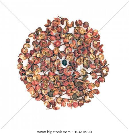 Chinese Sichuan pepper or Prickly Ash Peel (hua jiao) isolated over white