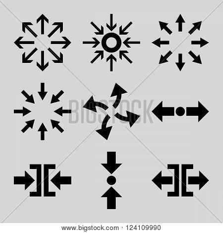 Compress and Explode Arrows vector icon set. Collection style is black flat symbols on a light gray background. Compress And Explode Arrows icons.