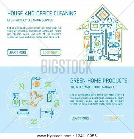 Modern clean linear style. Green cleaning equipment and appliance design elements. For web, banners, blogs, poster, app.