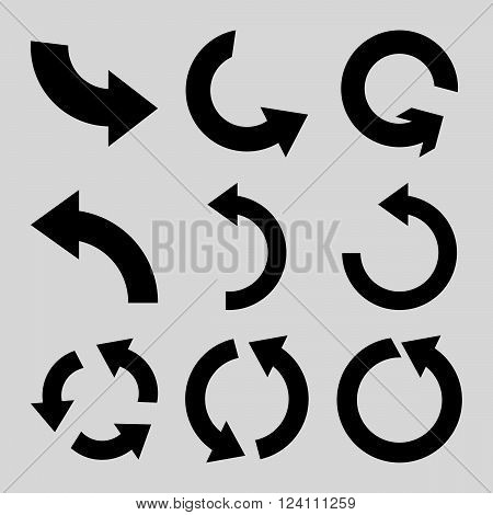 Rotate Counterclockwise vector icon set. Collection style is black flat symbols on a light gray background. Rotate Counterclockwise icons.