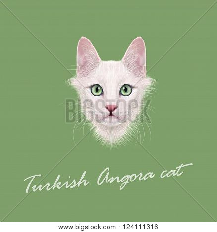 Cute face of white domestic cat with green eyes on green background.