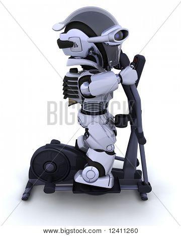 3D render of a robot on a crosstrainer