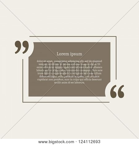 Quotation mark speech bubble. Empty quote blank citation template. Rectangle design element for business card, paper sheet, information, note, message, motivation, comment etc. Vector illustration.
