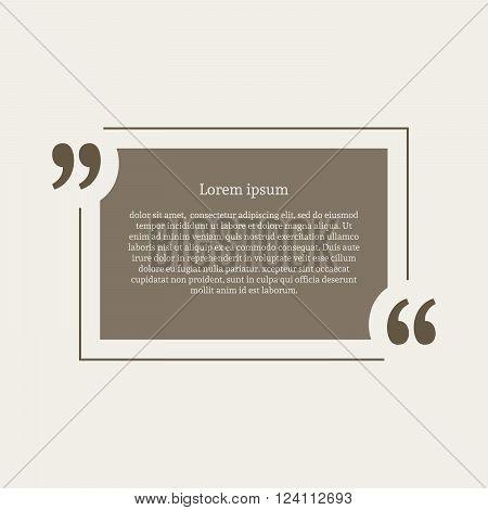 Quotation mark speech bubble. Empty quote blank citation template. Rectangle design element for business card, paper sheet, information, note, message, motivation, comment etc. Vector illustration.