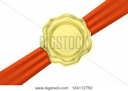 Gold Wax Seal On Diagonal Red Ribbon Isolated On White