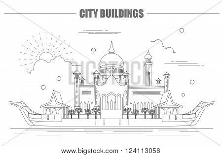 City buildings graphic template. Sultan Omar mosque. Brunei. Vector illustration